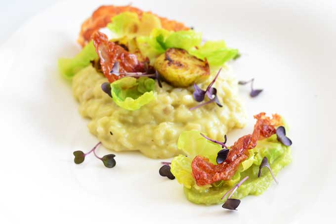 Rosenkohl Risotto Plating