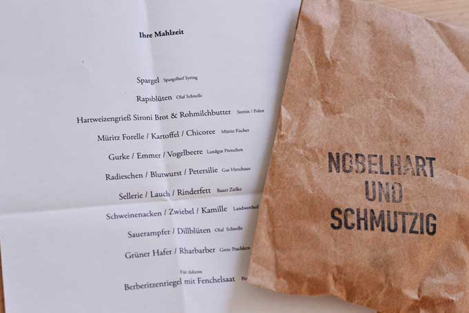 Speisekarte Nobelhart & Schmutzig Berlin