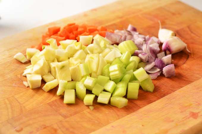 Fein geschnittenes Gemüse