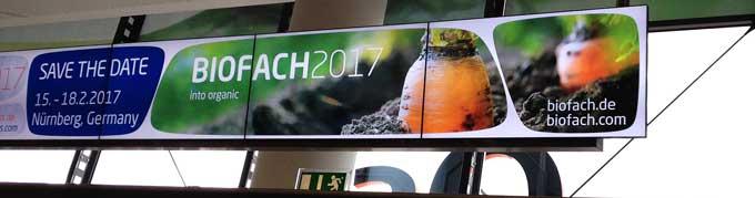 Hinweisschild Biofach 2017