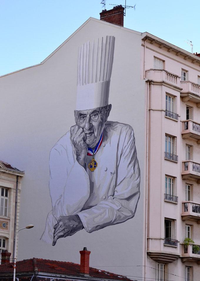 Paul Bocuse Wandmalerei Les Halles Lyon