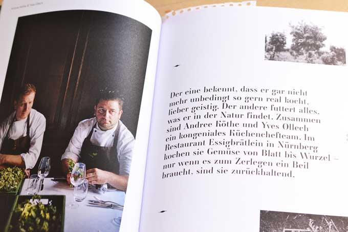 Doppelseite vom Buch Leaf-to-Root mit Portrait von den Köchen Andree Köthe und Yves Ollech