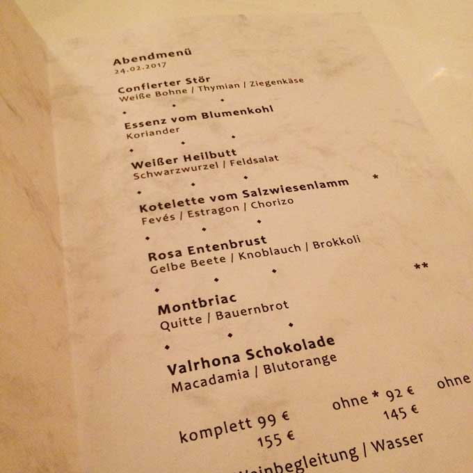 Speisekarte Entenstuben mit den einzelnen Gängen des Menüs